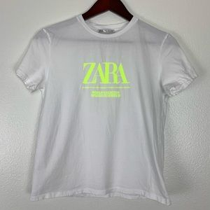 ZARA WHITE WITH NEON GREEN LETTERS